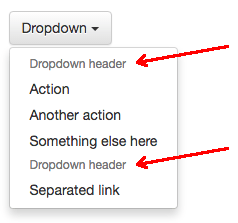 bootstrap dropdown header