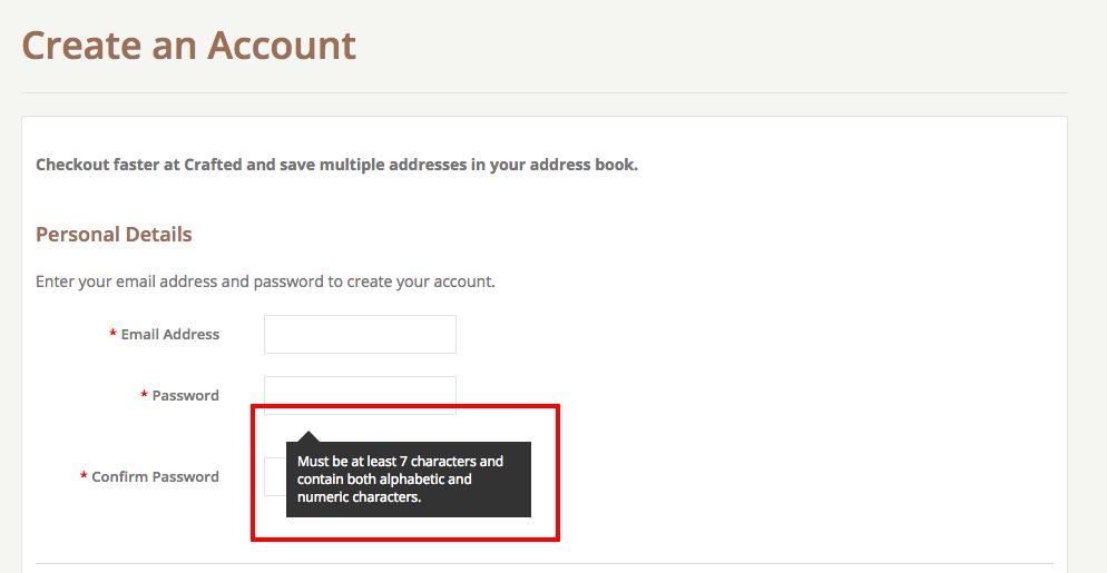 bigcommerce password info box on top