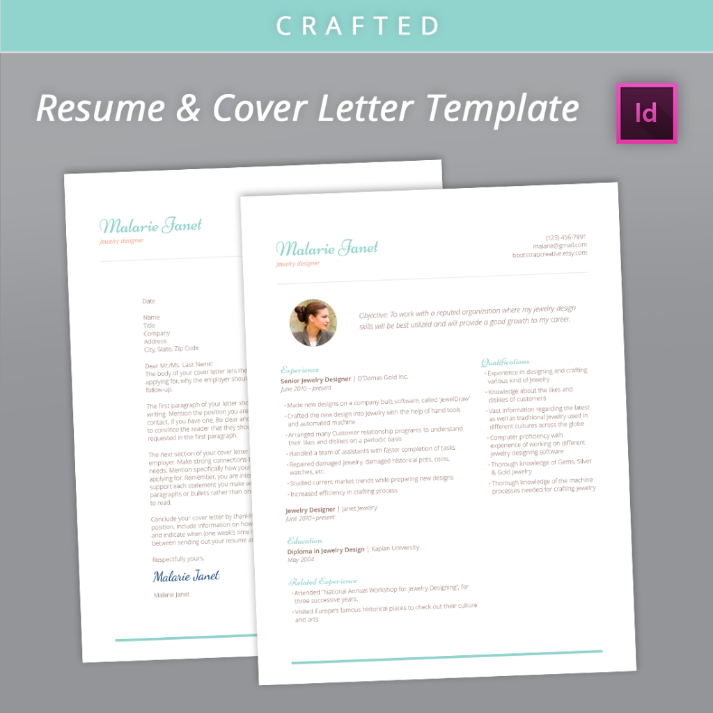 indesign resume template cv cover letter saves you time