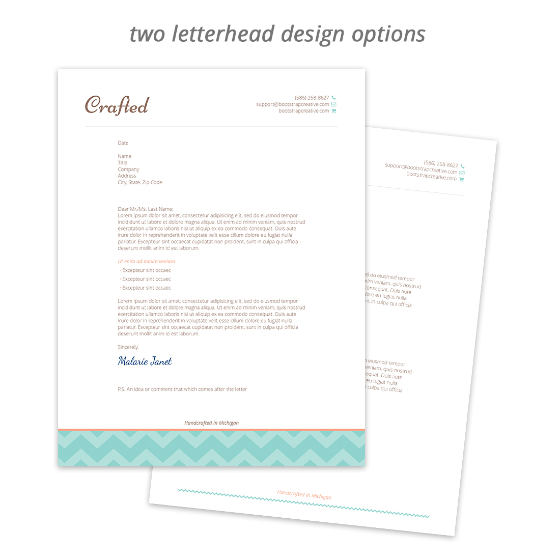 crafted letterhead stationery template bc shop2 bootstrapcreative