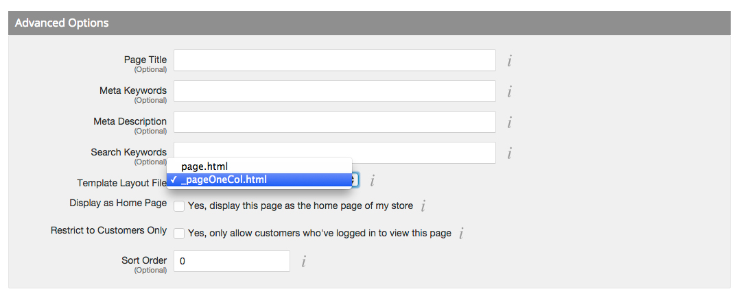 Bigcommerce select one column page template
