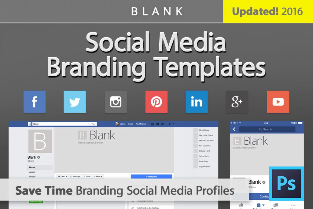 free blank facebook cover templates psd 2016 - twitter youtube +more, Powerpoint templates