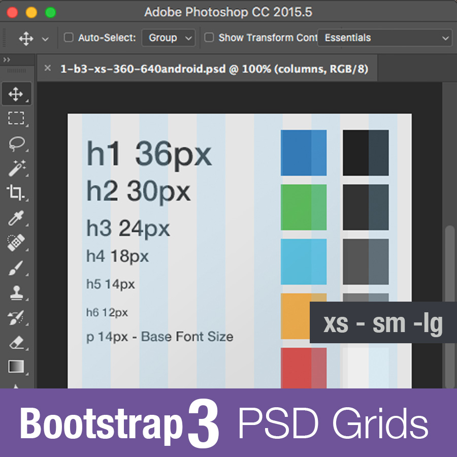 Bootstrap 3 Grid Psd Photoshop Template Free Download 2018