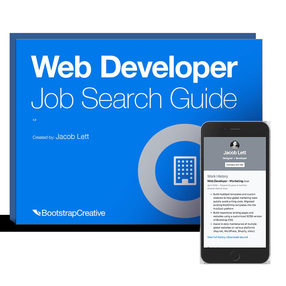 web developer portfolio template and job search and interview guide