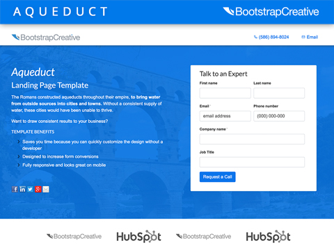Aqueduct Hubspot Landing Page Template 2019 Bootstrapcreative